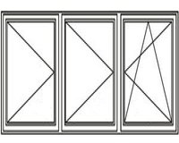 3-luft med två mittpost, DREH/DREH/DREH-KIPP, 19x12